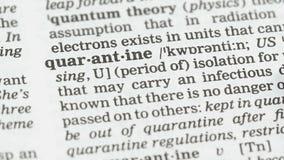 Quarantainebetekenis in woordenboek, isolatie van zieke wezens, epidemieënpreventie stock videobeelden