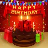Quarantatreesimo compleanno felice con il dolce della crema del cioccolato e la bandiera triangolare illustrazione di stock