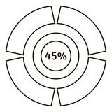 Quarante-cinq pour cent d'infographics, style d'ensemble Photos stock