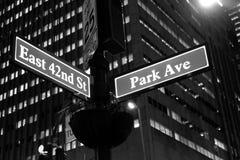 quarante-deuxième et Park Avenue Photos libres de droits