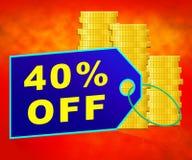 Quarante pour cent représentent l'illustration de la remise 3d de 40% Photos stock