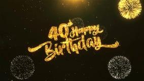 quarantième célébration de joyeux anniversaire, souhaits, saluant le texte sur le feu d'artifice d'or illustration libre de droits