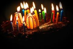 quarantième gâteau d'anniversaire Photographie stock