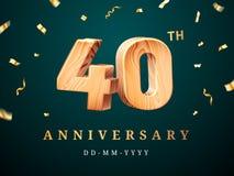 quarantième signe d'anniversaire avec les confettis en baisse illustration libre de droits