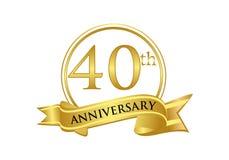 quarantième vecteur de logo de célébration d'anniversaire illustration de vecteur