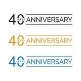 Quarantième vecteur simple de logo d'années d'anniversaire couleur d'or de noir bleu illustration de vecteur
