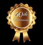 quarantième médaille d'anniversaire Images stock
