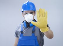 Quarantine. Construction worker with protection equipment Royalty Free Stock Photos