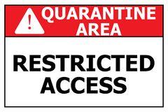 """Quarantine area. An illustration of a sign with the text """"Quarantine Area Restricted Access Royalty Free Stock Photos"""