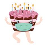 Quarantine Birthday Choco Cake Stock Photography