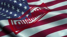 Quarantine stamp on the national flag of USA. Coronavirus concept