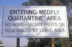 A quarantine warning sign Stock Photography