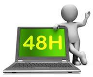 Quarantotto caratteri del computer portatile di ora mostrano il servizio 48h o la consegna Immagine Stock
