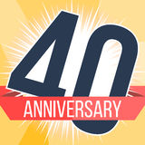 Quarenta anos de bandeira do aniversário 40th logotipo do aniversário Ilustração do vetor Foto de Stock