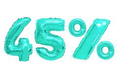 Quarenta e cinco por cento da cor de turquesa dos balões foto de stock