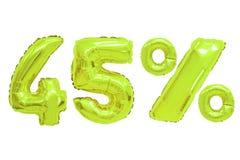 Quarenta e cinco por cento da cor do cal dos balões foto de stock royalty free