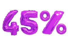 Quarenta e cinco por cento da cor roxa dos balões foto de stock