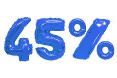 Quarenta e cinco por cento dos balões escuros - cor azul imagem de stock royalty free