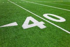 Quarenta linha de jardas - futebol Fotografia de Stock Royalty Free