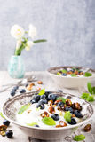 Quark with blueberries, pistachios and mint Stock Image