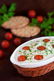 Quark casserole. Quark and cherry tomatoes steam savory pudding, selective focus Stock Photography