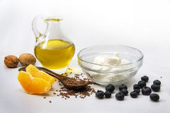 Quark or cottage cheese, flax seeds, linseed oil and fresh frui stock photo