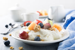 Quark with granola, fruits and berries Stock Image