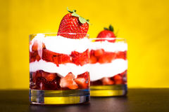 Quark with strawberries Stock Images