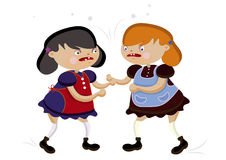 Quarrel. Two funny little girl loudly swears on a white background Royalty Free Stock Photos