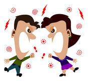 Quarrel. Cartoon man and woman shouting at each other Stock Photos