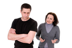 Quarrel. Husband and wife quarrel isolated on white background Royalty Free Stock Photography