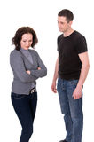 Quarrel. Husband and wife quarrel isolated on white background Royalty Free Stock Image