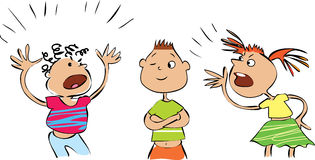 Quarrel. Vector cartoon of three conflicting people vector illustration