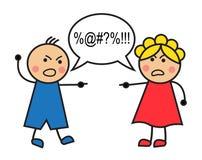 Quarrel. Cartoon man and woman arguing and cussing Stock Image