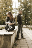 Quarrel. Young couple walking in park Royalty Free Stock Photography