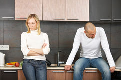 Quarrel. The image of quarrel of a married couple on kitchen Royalty Free Stock Photos