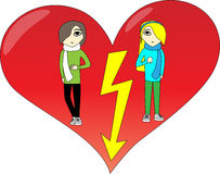 Quarrel. Situation shaped in heart (vector available Royalty Free Stock Image