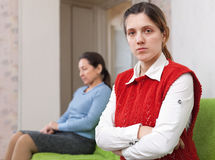 Quarrel of adult daughter and mother Stock Image