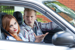 Quarrel in a car Stock Images