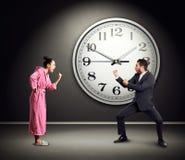 Quarrel between emotional couple Stock Photos