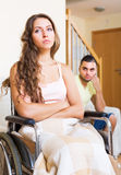 Quarrel in family with handicapped Royalty Free Stock Photos