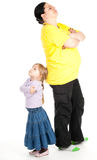 Quarrel fat mother and daughter Royalty Free Stock Photos