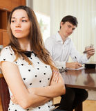 Quarrel because of financial problems Stock Photos