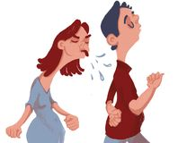 Quarrel. The girl is angry and takes offense at the guy royalty free illustration
