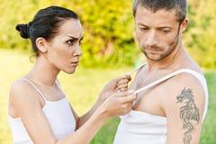 Quarrel between girl and guy. Stock Photo