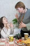 Quarrel of the girl and the woman Stock Images