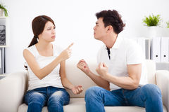 Quarrel between girlfriend and  boyfriend Royalty Free Stock Images