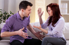 Quarrel between girlfriend and boyfriend Royalty Free Stock Photo