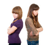 Quarrel girls isolated Stock Image