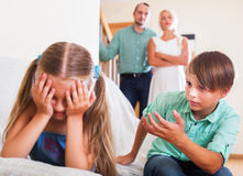 Quarrel between kids Stock Images